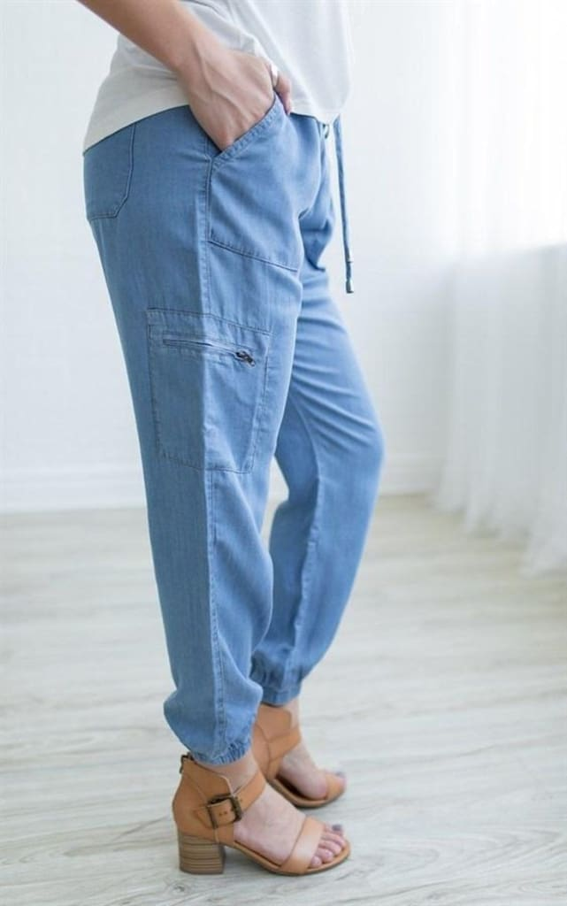 """Tegan"" Denim Tencel Joggers - BOTTOMS - Affordable Boutique Fashion"