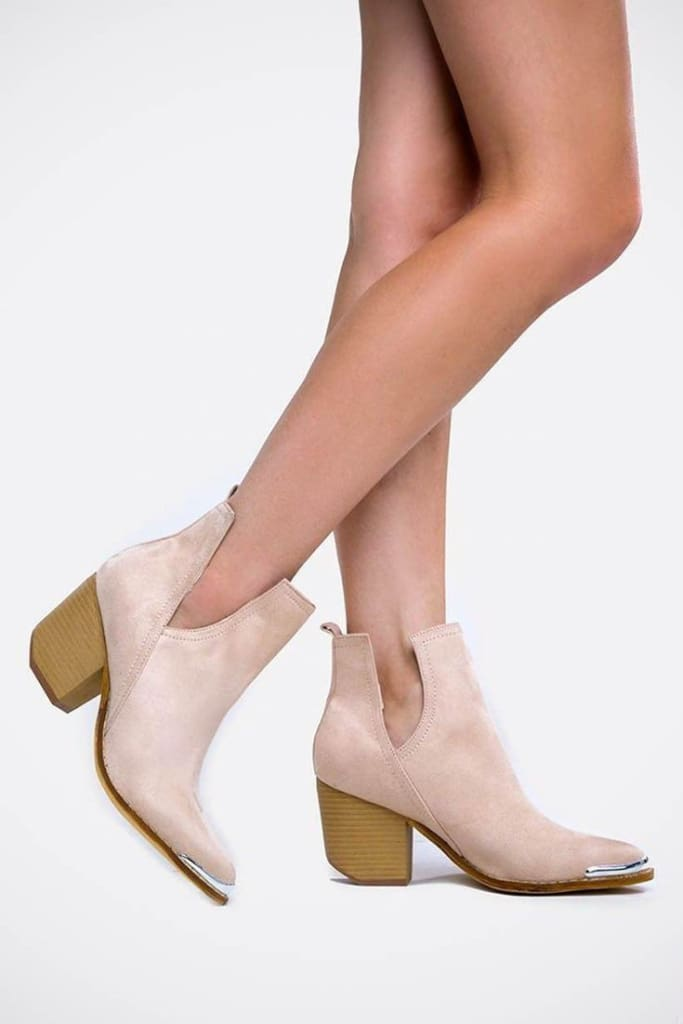 """Tess"" Side Cut-Out Metal Tipped Booties -  - Affordable Boutique Fashion"