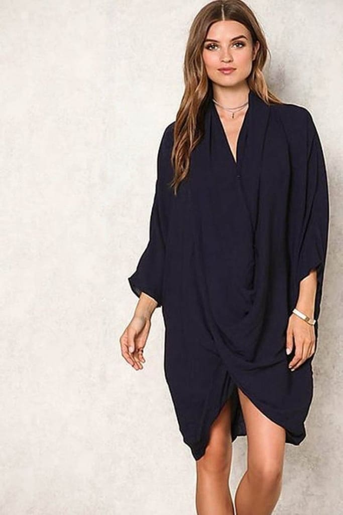 The Cape Layered Drape Tunic - Navy - TOPS - Affordable Boutique Fashion