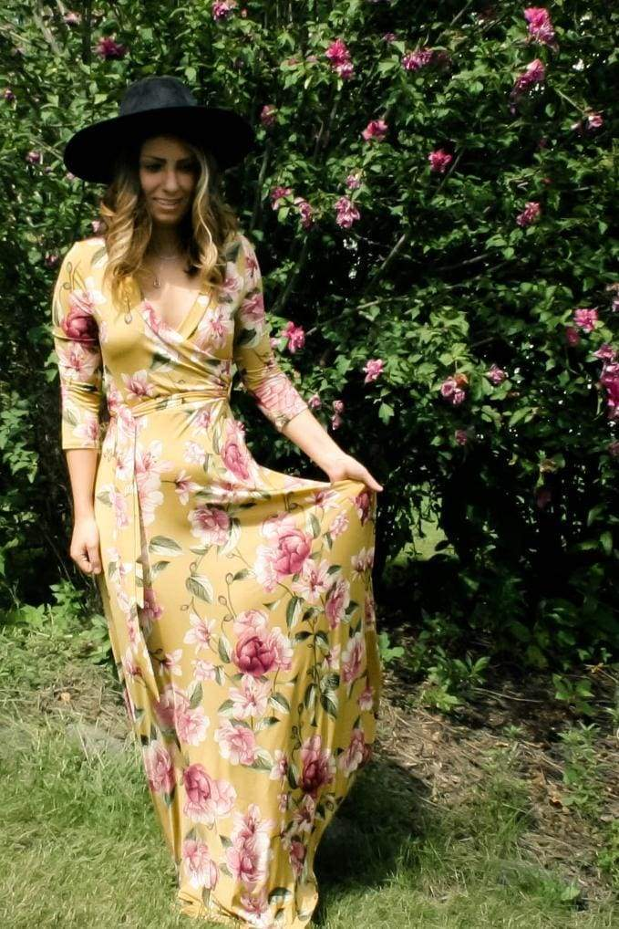 "the ""Charlie"" Mustard Floral Wrap Maxi Dress - DRESSES - Affordable Boutique Fashion"