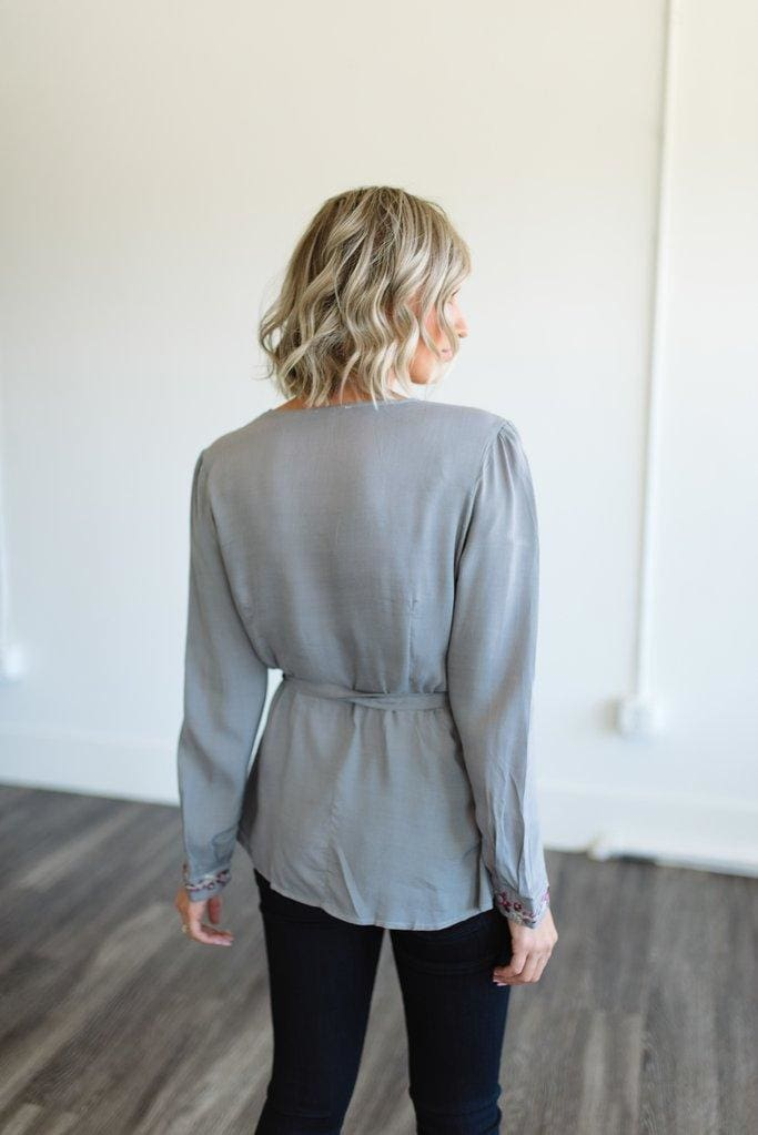 The Embroidered Wrap Blouse - Tops - Affordable Boutique Fashion