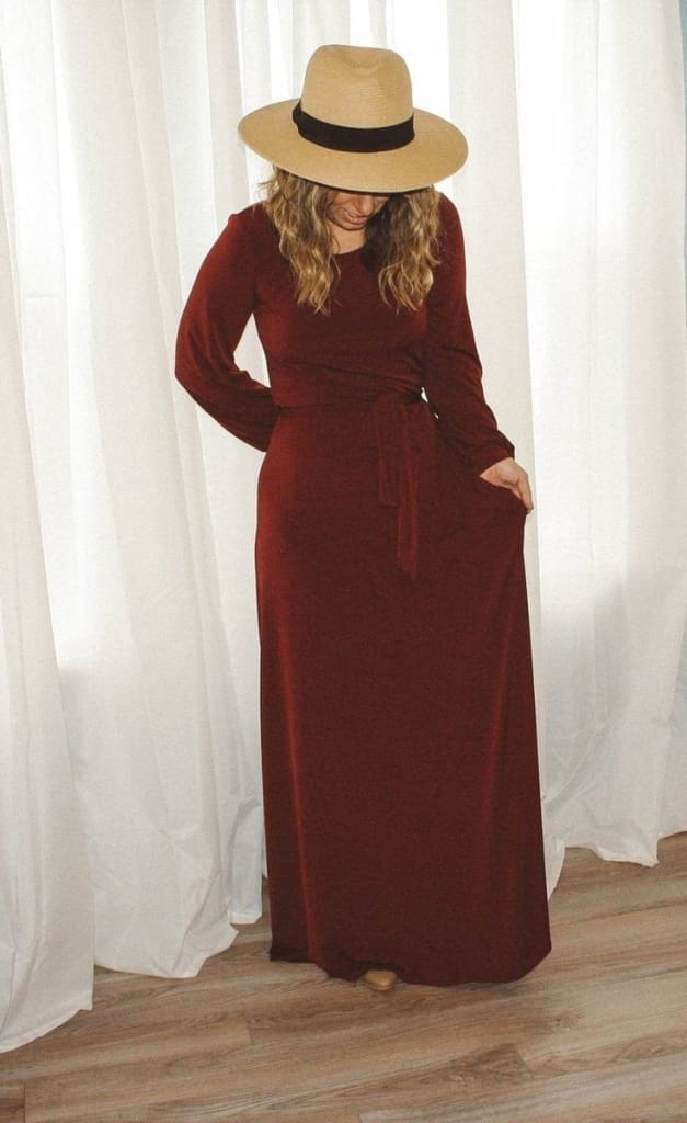 The Jonna Boatneck Maxi - Burgundy - DRESSES - Affordable Boutique Fashion