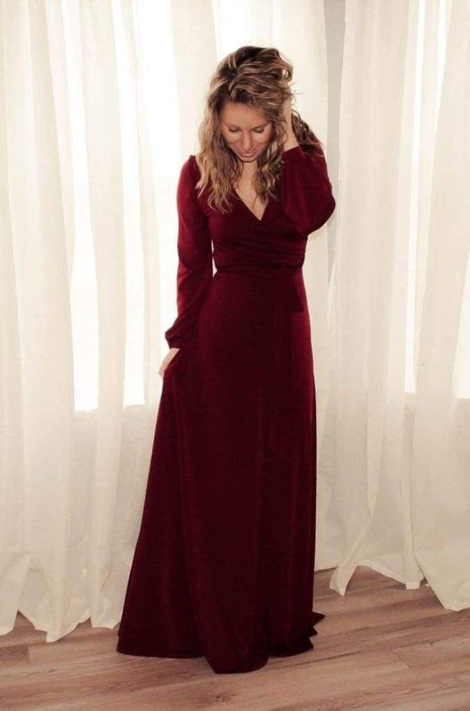 The Jonna Long Sleeve Wrap Maxi - Burgundy - DRESSES - Affordable Boutique Fashion