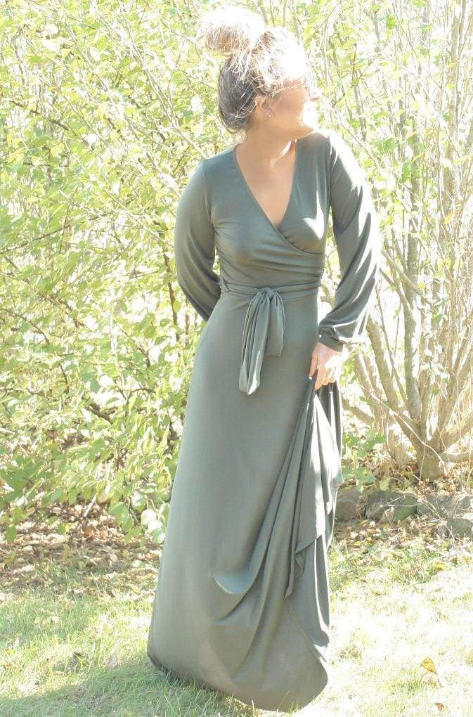 The Jonna Long Sleeve Wrap Maxi Dress - Olive - DRESSES - Affordable Boutique Fashion