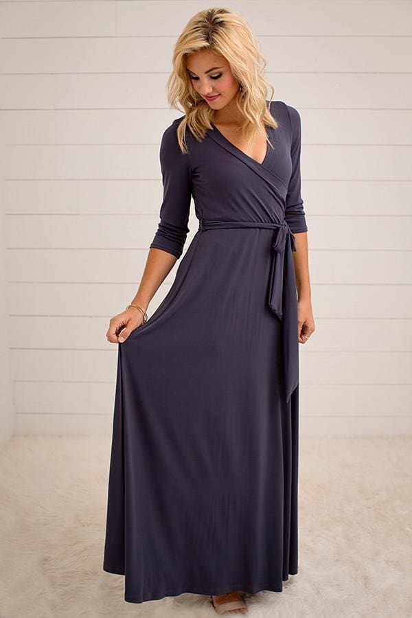 The Jonna Wrap Maxi - Charcoal - DRESSES - Affordable Boutique Fashion