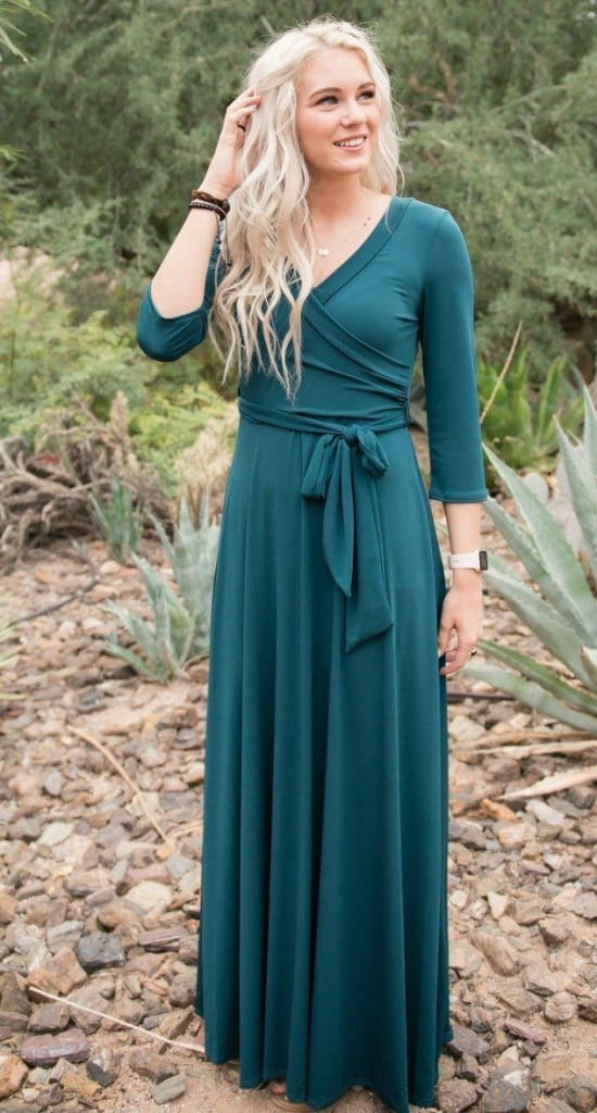 The Jonna Wrap Maxi Dress - JADE - DRESSES - Affordable Boutique Fashion