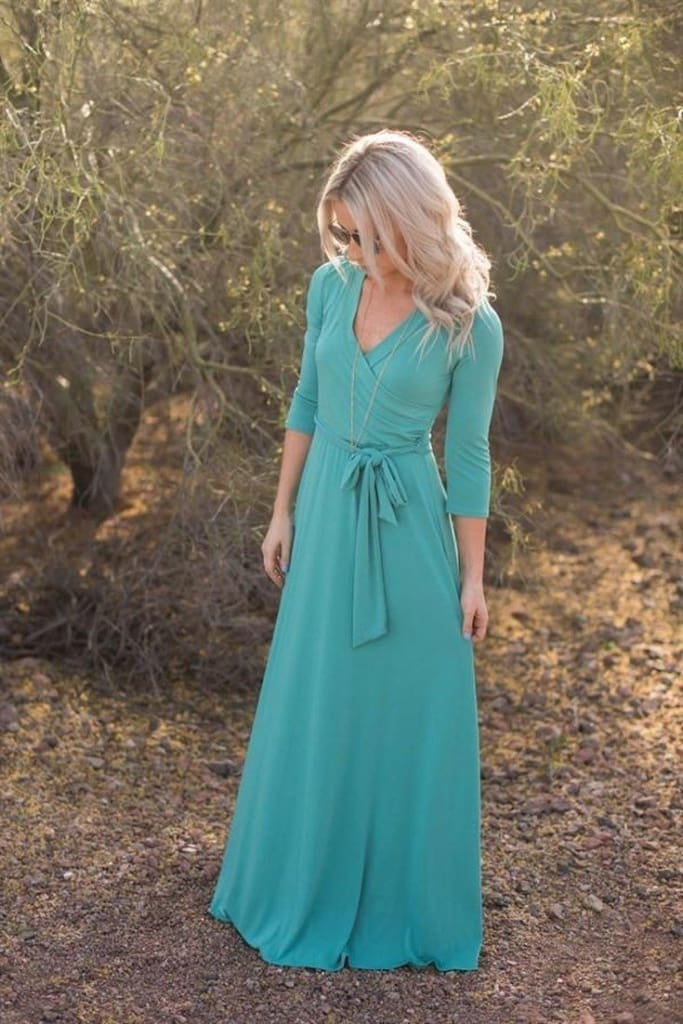 The Jonna Wrap Maxi Dress - Teal - DRESSES - Affordable Boutique Fashion