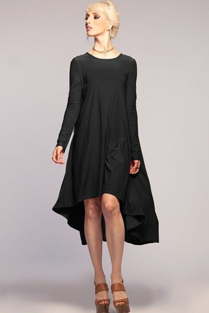 Black High Low Dress with Sleeves
