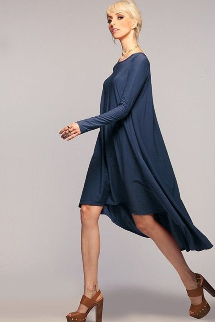 The Laguna Long Sleeve High Low Dress - Navy - DRESSES - Affordable Boutique Fashion