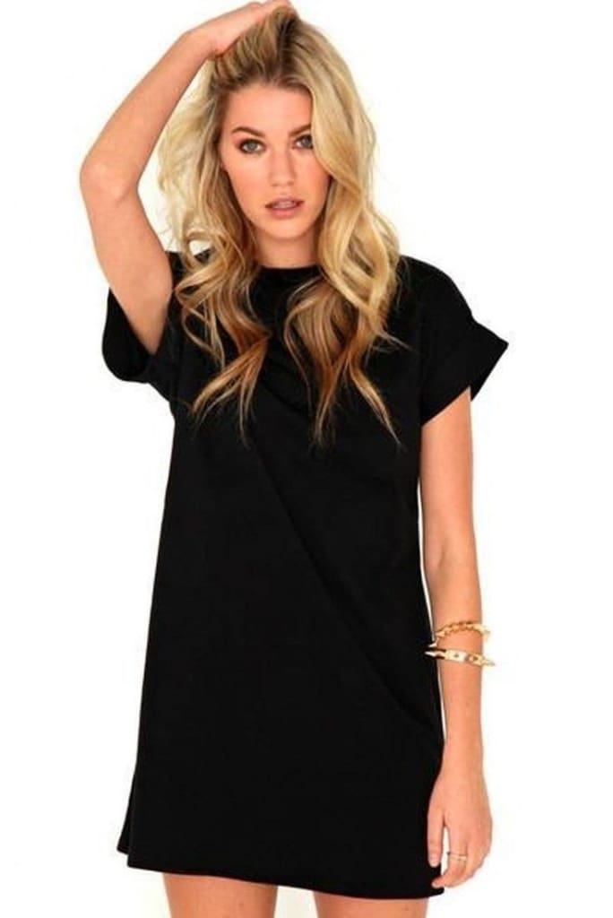 The Rileigh Tee Shirt Dress | Black - DRESSES - Affordable Boutique Fashion