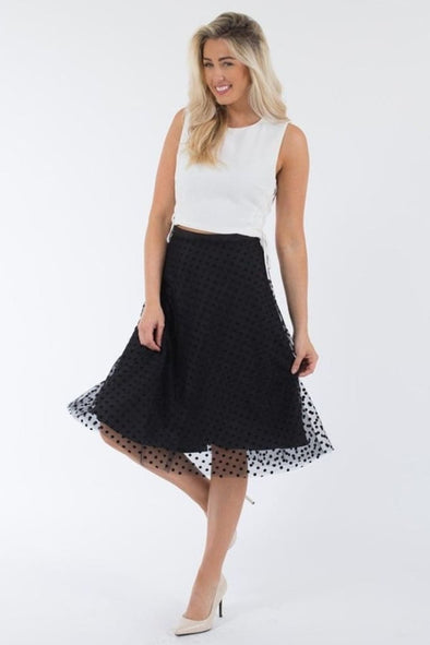 The Romantic Polka Dot Black Tulle Midi Skirt - BOTTOMS - Affordable Boutique Fashion