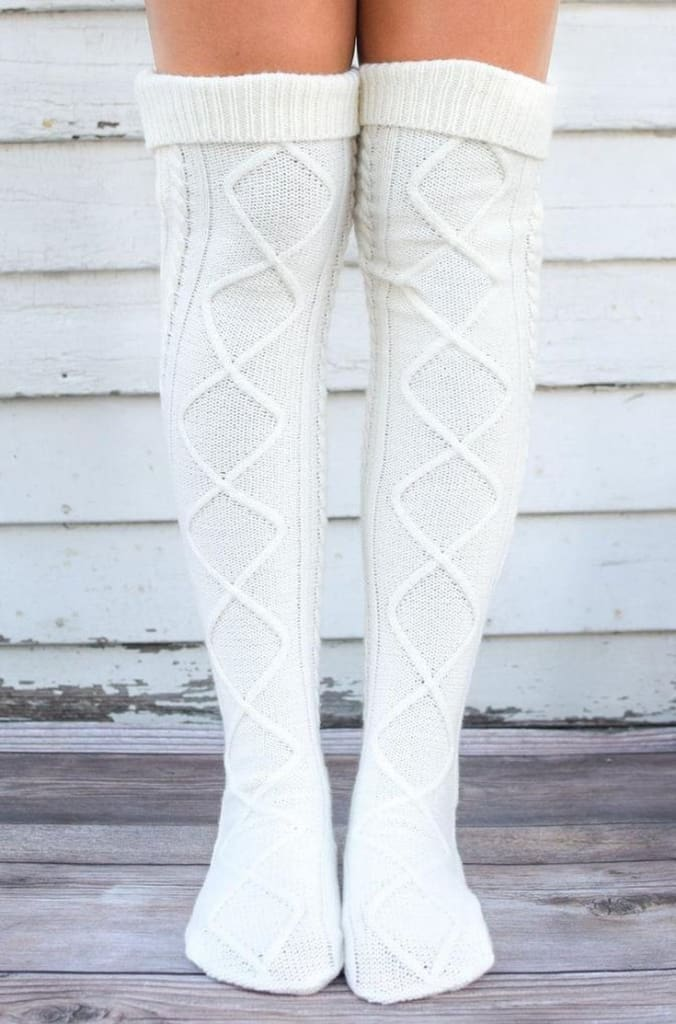 The San Fran Boot Socks - Ivory - SALE - Affordable Boutique Fashion
