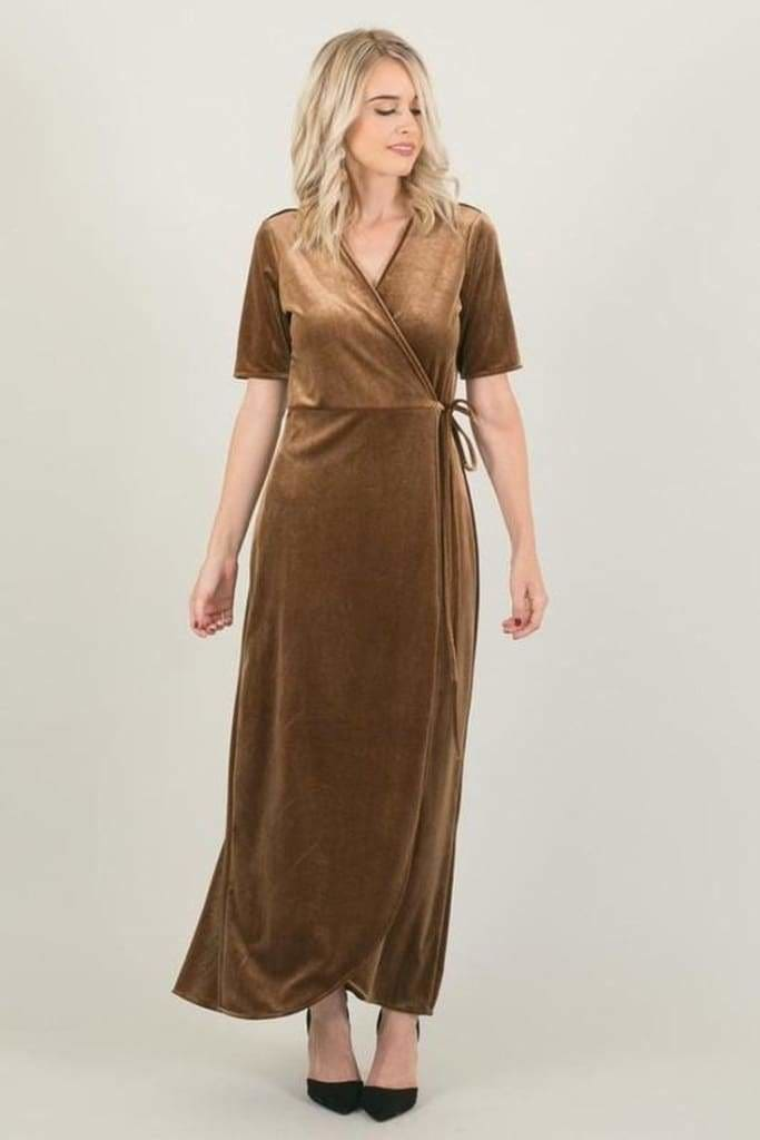 The Vici Wrap Maxi - Bronze Velvet - Wrap Dress - Affordable Boutique Fashion