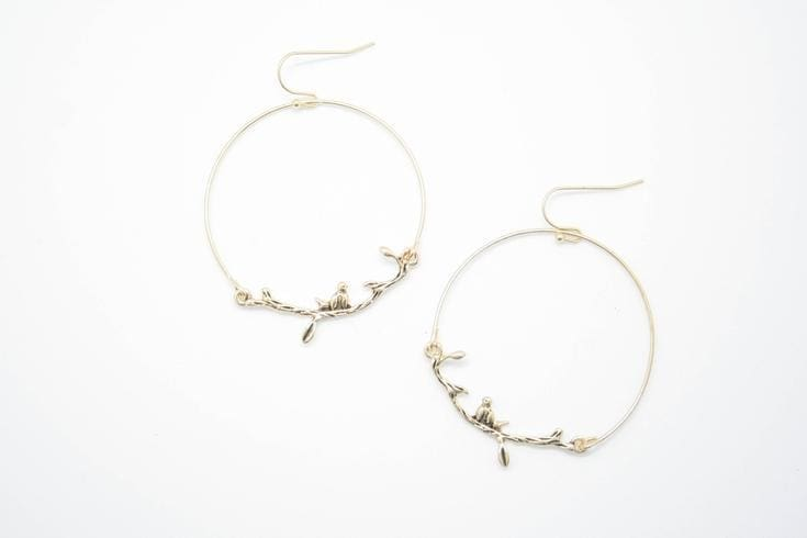 Tree Branch Hammered Hoop Earrings - DRESSES - Affordable Boutique Fashion