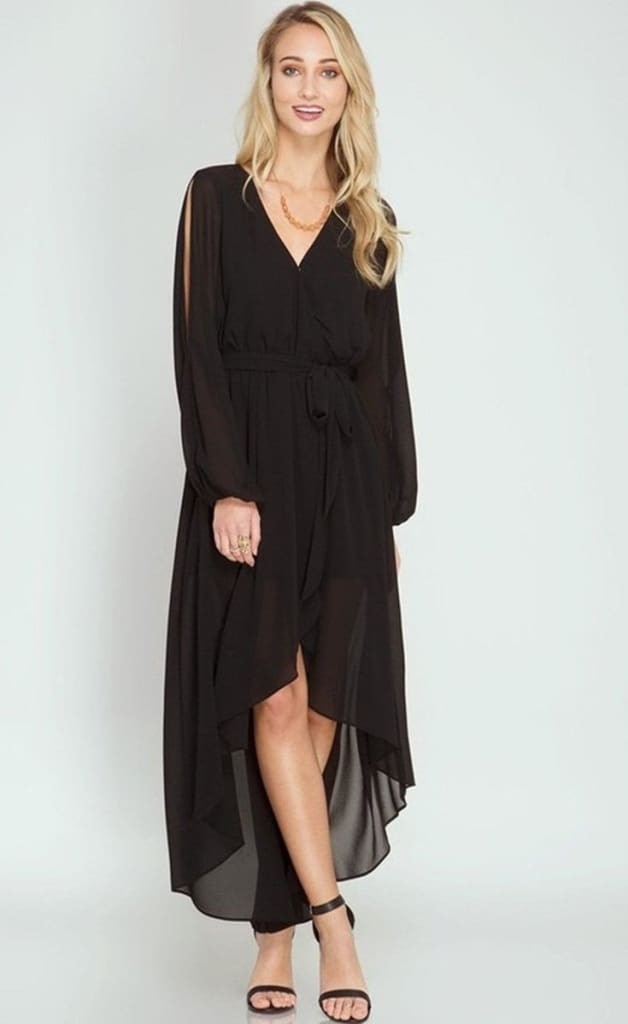 Tuscany Black Wrap Maxi Dress - Dresses - Affordable Boutique Fashion