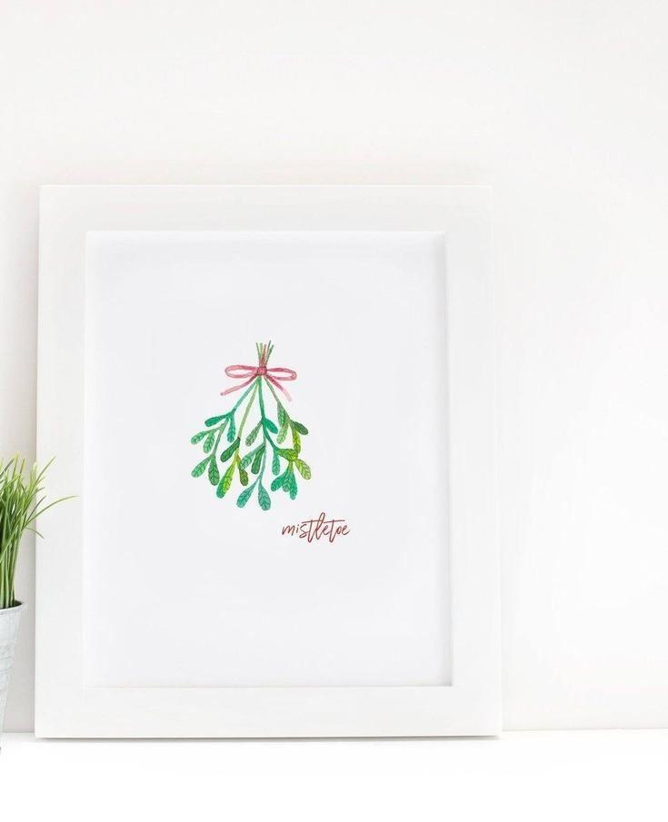 Under the Mistletoe Watercolor Print - print - Affordable Boutique Fashion