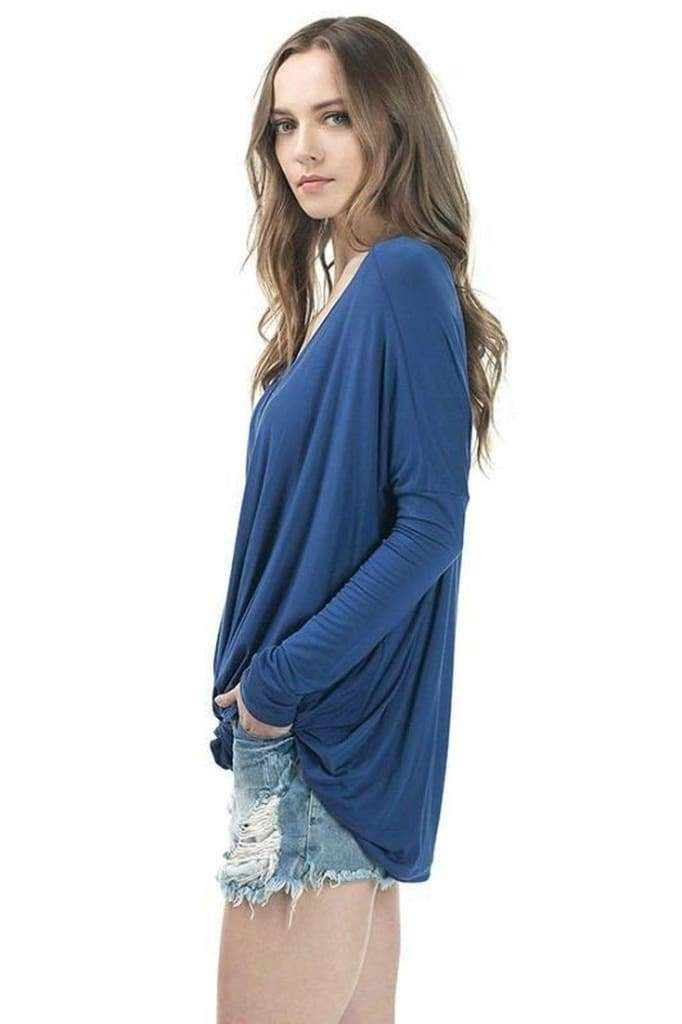Valley Oversized Long Sleeve Drape Top - Tops - Affordable Boutique Fashion