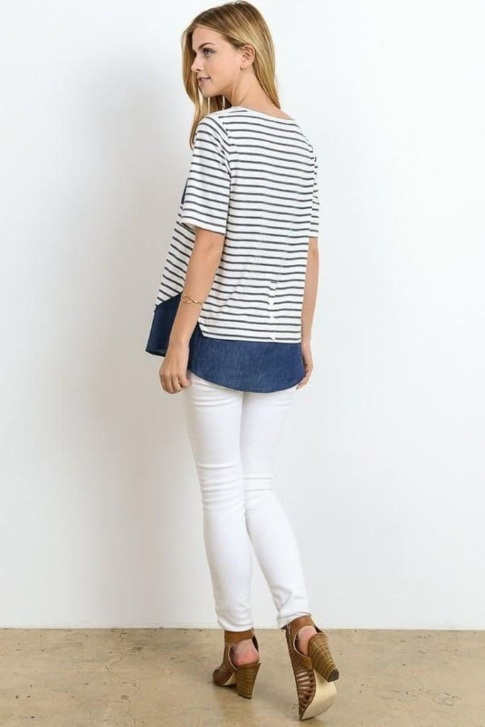 Vanessa Twofer Denim Striped Tee - TOPS - Affordable Boutique Fashion