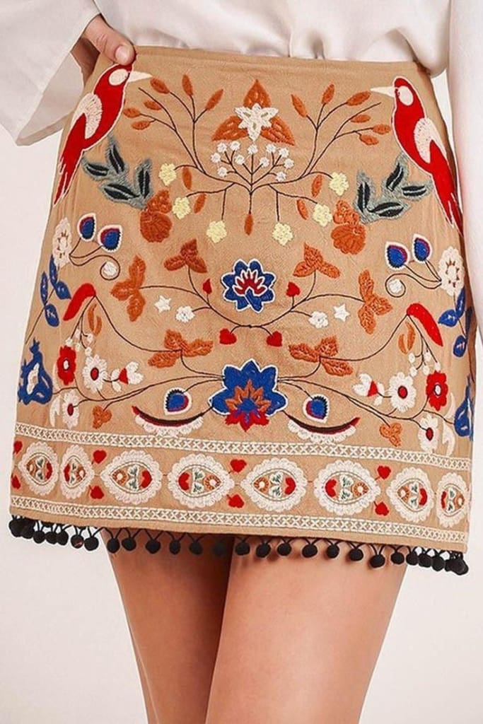 Vega Embroidered Mini Skirt - SALE - Affordable Boutique Fashion
