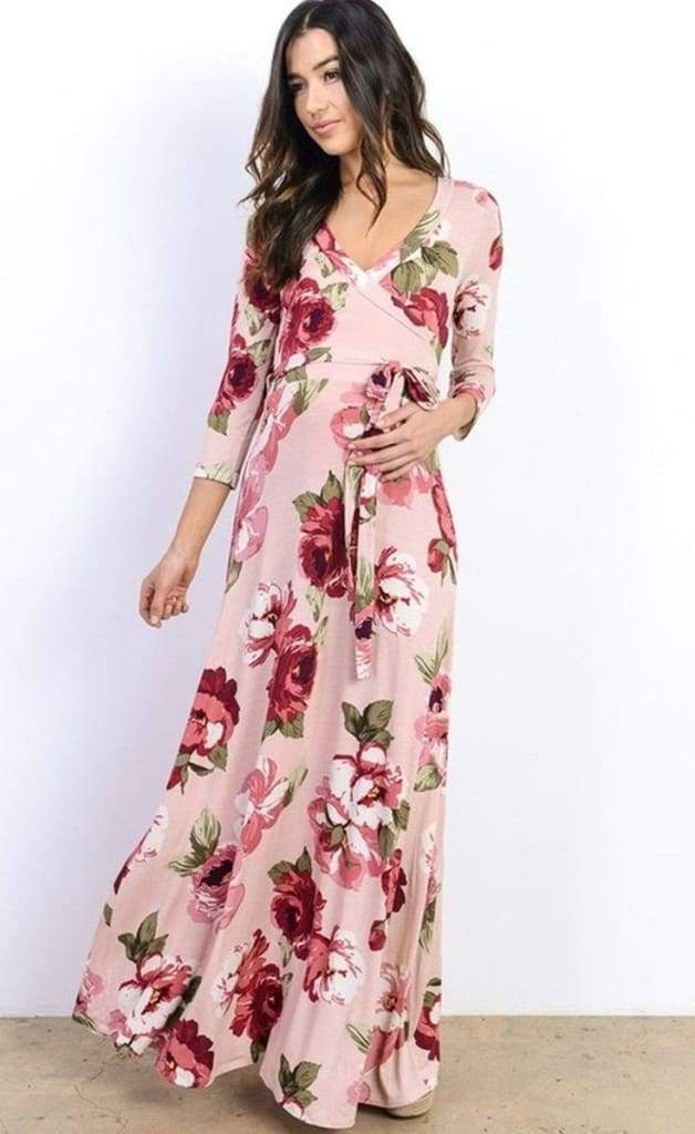 Vintage Rose Floral Wrap Maxi Dress - Blush - DRESSES - Affordable Boutique Fashion