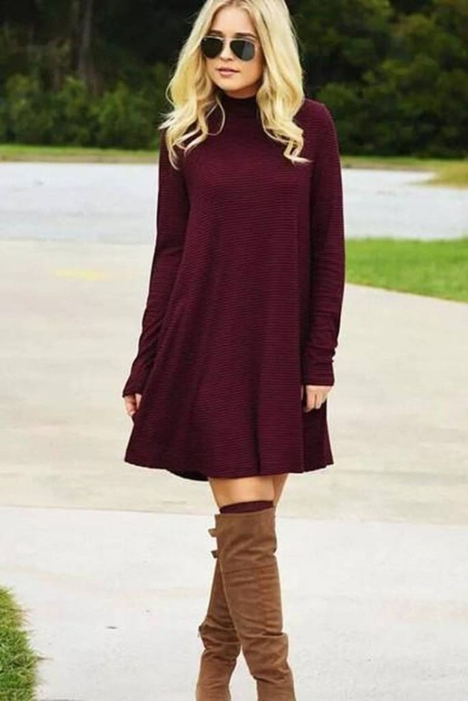 Warm Wishes Textured Knit Turtleneck Dress - Burgundy - DRESSEs - Affordable Boutique Fashion