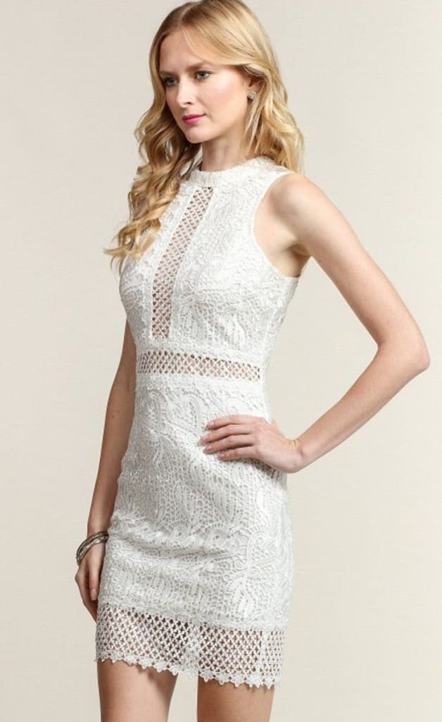 Weekends in the City Crochet White Lace Dress - DRESSES - Affordable Boutique Fashion