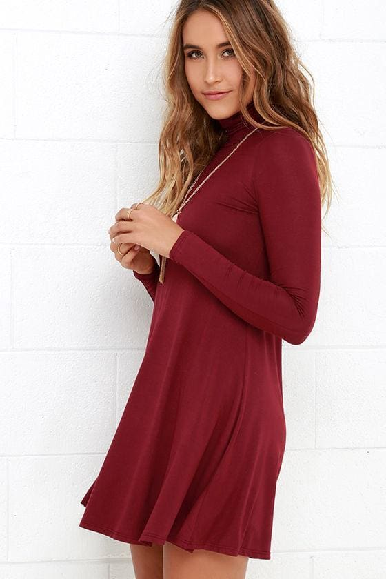 West Indies Long Sleeve Mock Neck Dress - DRESSES - Affordable Boutique Fashion