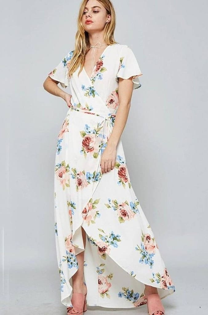 Wilhelmina White Floral Wrap Maxi Dress - SALE - Affordable Boutique Fashion