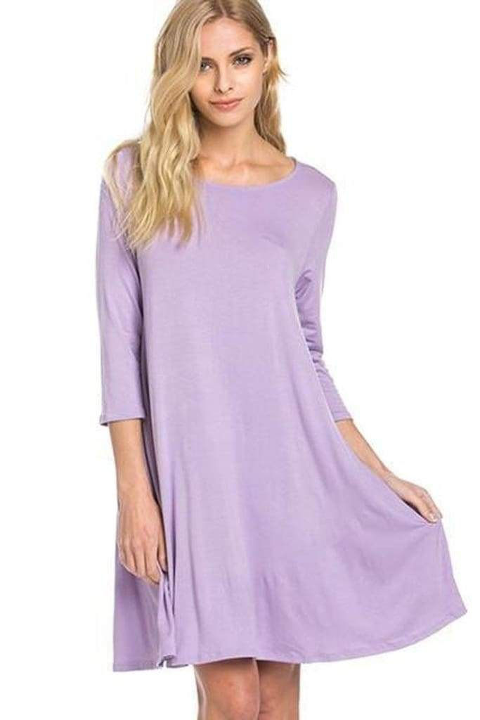 """Willa"" Perfect Pocket 3/4 Sleeve Dress (More Colors.) - DRESSES - Affordable Boutique Fashion"