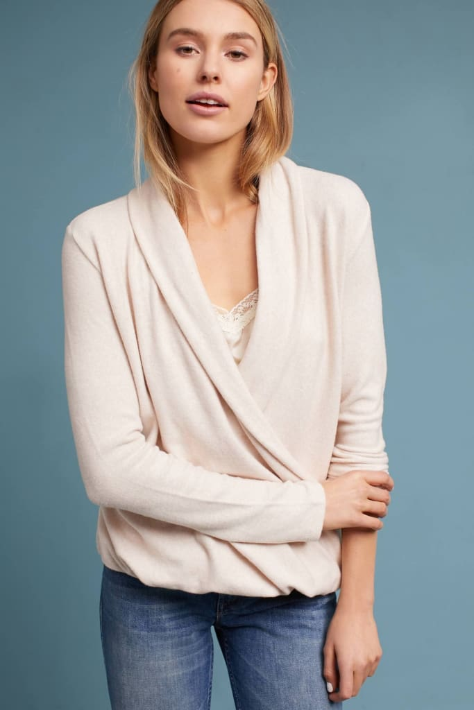 Willis Brushed Wrap Top - SWEATER - Affordable Boutique Fashion