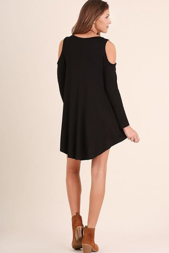 World Traveler Cold Shoulder Dress | Black - Dresses - Affordable Boutique Fashion