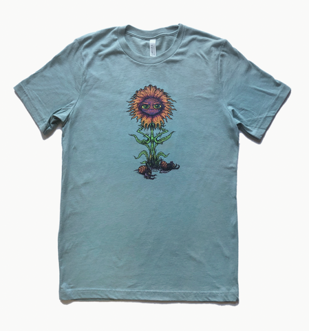 Frustrated Flower Dusty Blue Heather Unisex Shirt