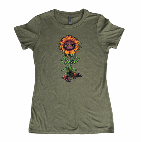Frustrated Flower Women's Olive Shirt
