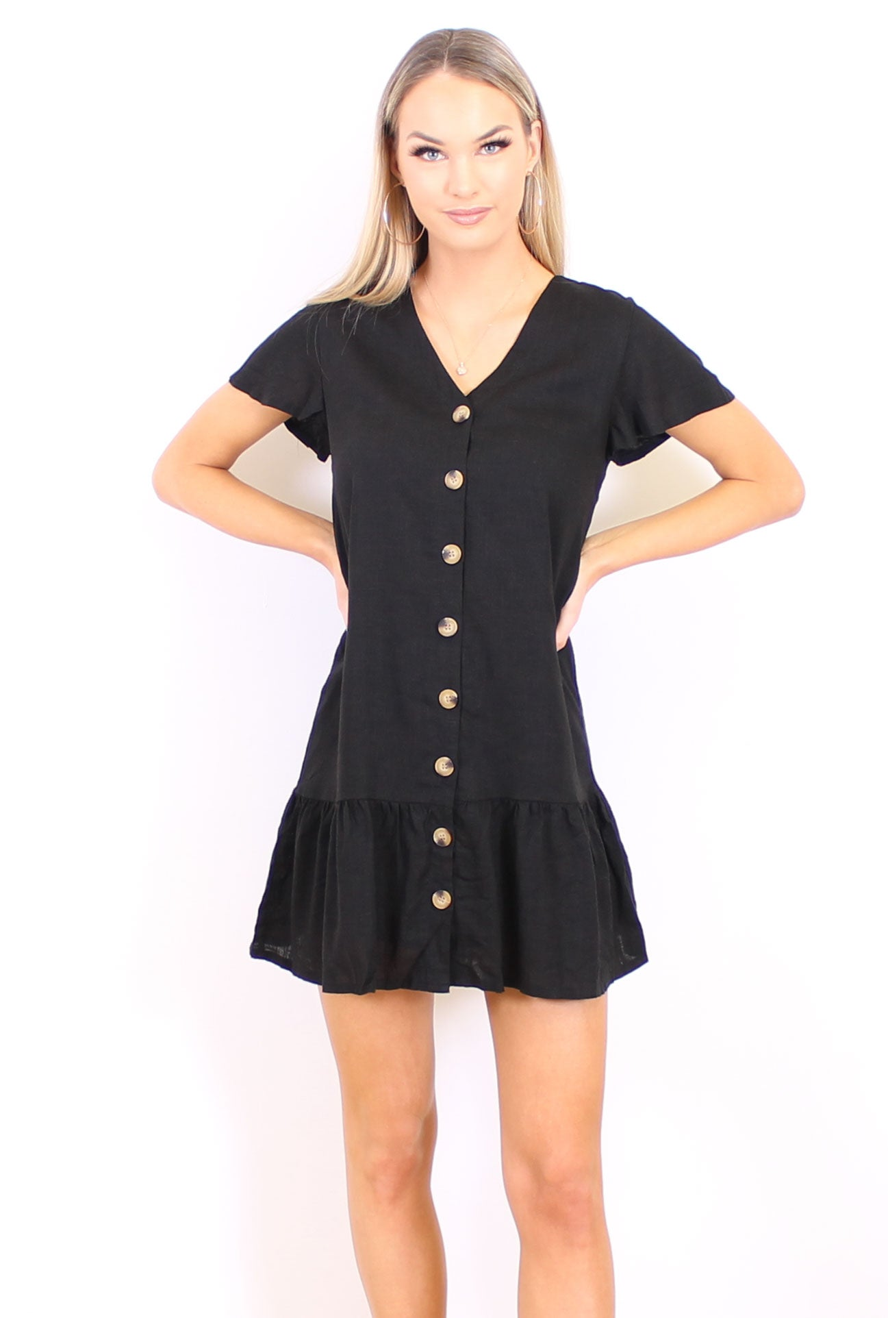 Mandy Linen Dress - Black - Side Street