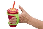 Hand with grip disability holds a sippy cup with the Large green eazyhold bottle holder.