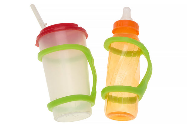 A sippy cup and a baby bottle each with a large green eazyhold on them for better grip.