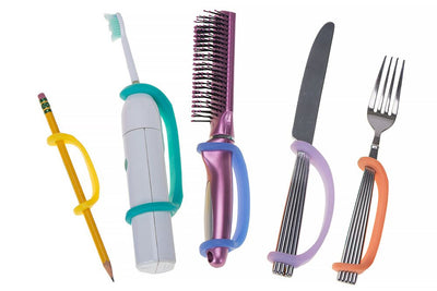 5 universal cuffs in yellow, aqua, blue, lavender, and orange hold a pencil, toothbrush, hairbrush, knife and fork for an effortless grip.