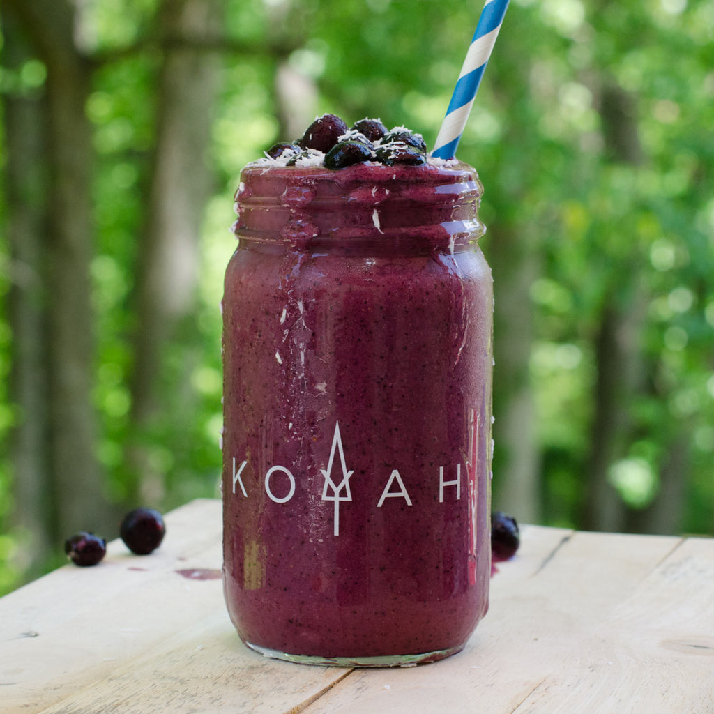 Creamy blueberry spinach basil smoothie