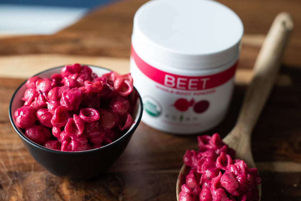 Healthy white cheddar mac and cheese with beet powder