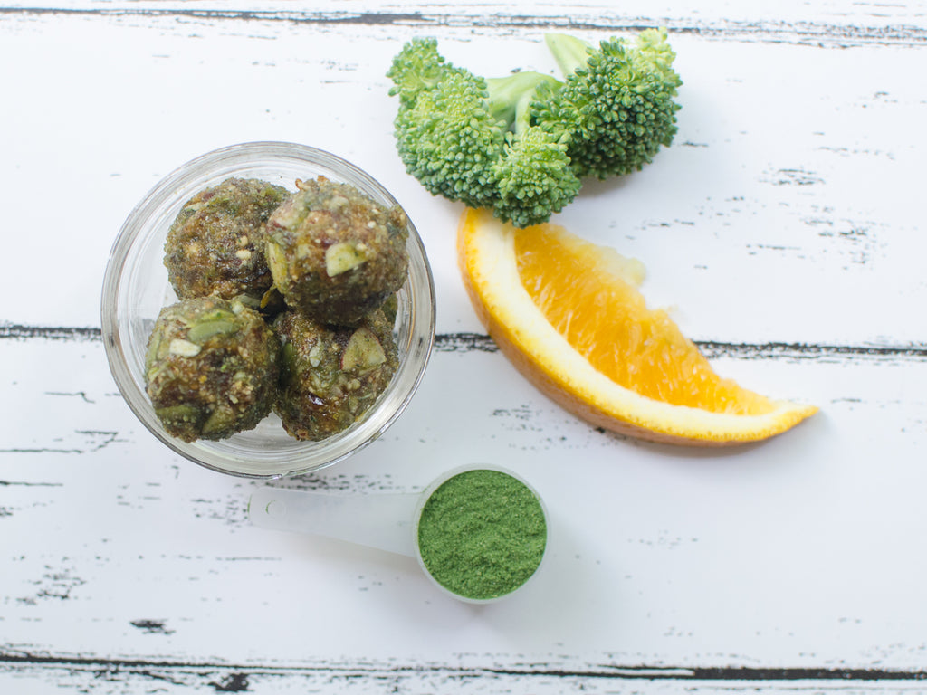 Zesty orange broccoli bliss balls