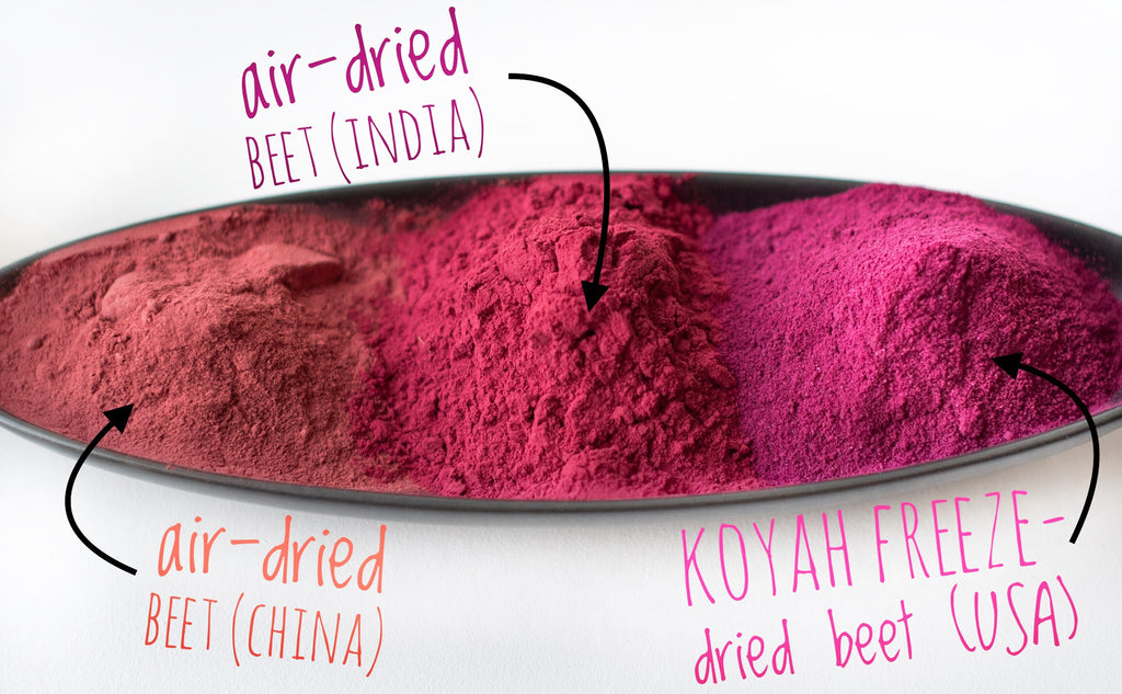 KOYAH's Organic Freeze-dried USA Beet Powder compared to competitors Beet powders