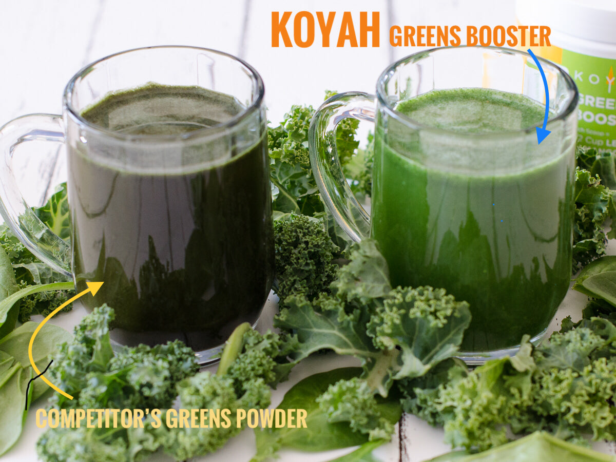 KOYAH Citrus Greens Booster Powder vs Competitor Greens Product