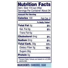 Dried Cranberry Nutrition Facts and Ingredients