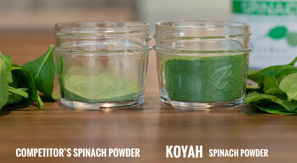 KOYAH Spinach Powder vs Competitors Spinach Powder