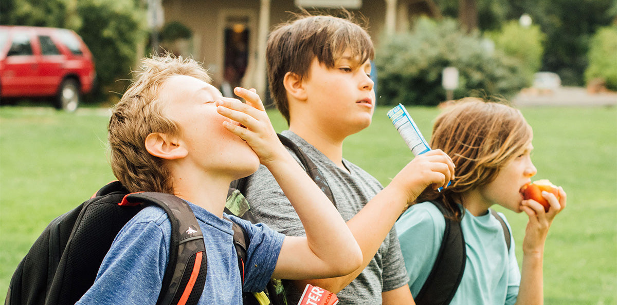 Children walking home from school eating various healthy snacks, including Crunchsters