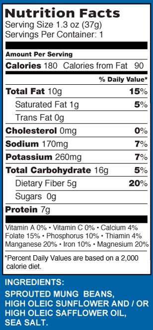sea salt nutrition label