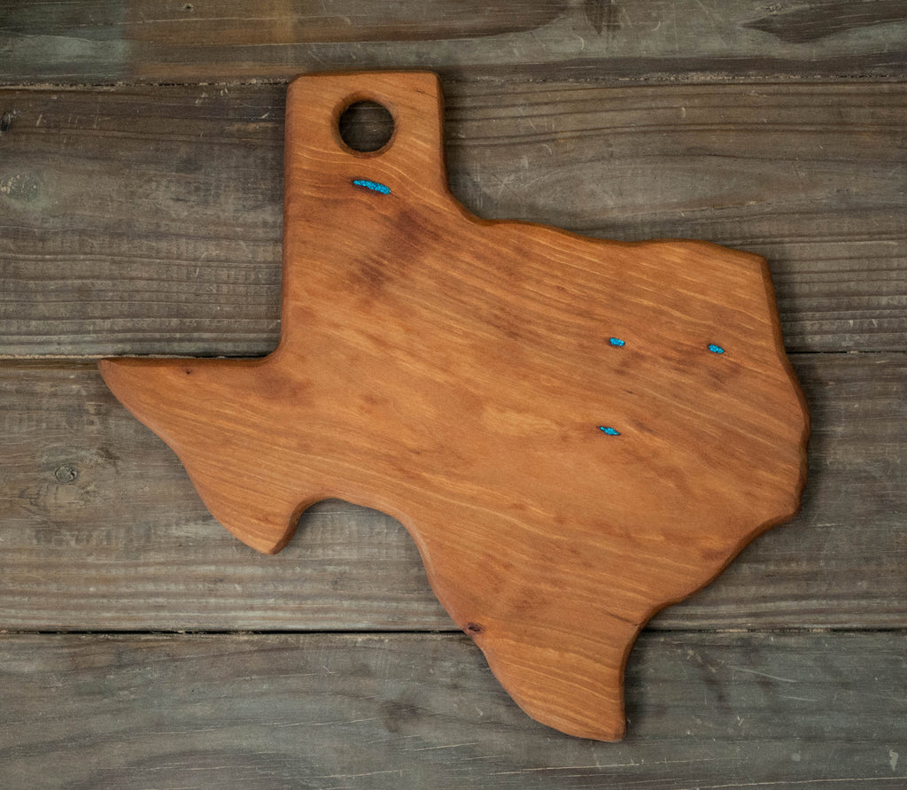 300. Texas Shaped, Cherry Cutting Board with Turquoise