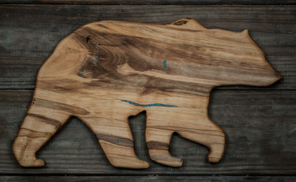 221. Ambrosia Maple Bear Cutting Board with Turquoise Inlay