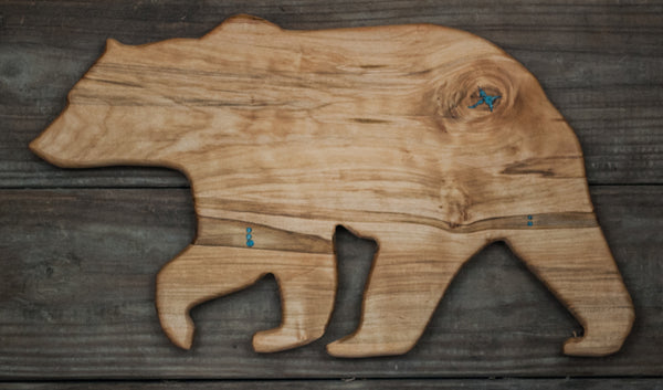 232. Ambrosia Maple Bear Cutting Board with Turquoise Inlay