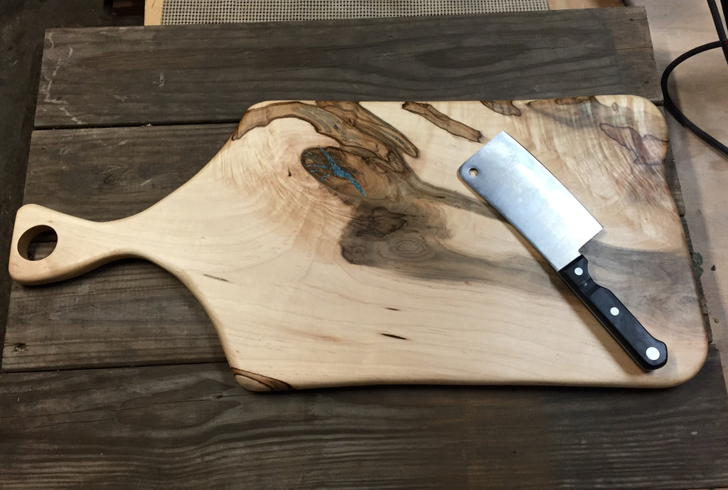 143. Large Ambrosia Maple Cutting Board with Turquoise Inlay